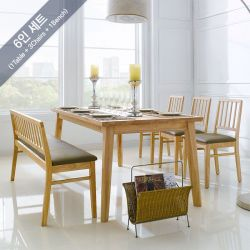 Miso-6-Natural  Dining Set (6인용) (1 Table + 3 Chairs + 1 Bench)