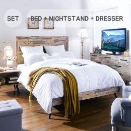 Alicia  Queen Solid Panel Bed  (침대+협탁+화장대)~100% Acacia Solid~