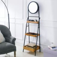 FI0170 Black Iron Folding Mirror Rack