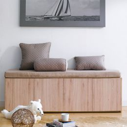 Mof-Natural-BEG  Storage Bench w/  Cushion
