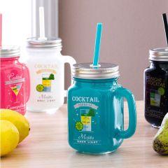 Mason Jar-Green Cocktail Jar  (Straw 포함)