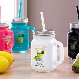 Mason Jar-White Cocktail Jar  (Straw 포함)