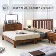 Coco-Q Bed Set Queen Bed  (Acacia 원목)   (침대+협탁+화장대+거)