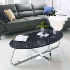 Konzit-Black  Marble-Look Cocktail Table