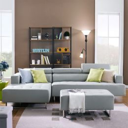 Molly-Grey  Leather Sofa w/ Chaise