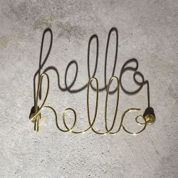 Wired Hello-Brass Wall Décor