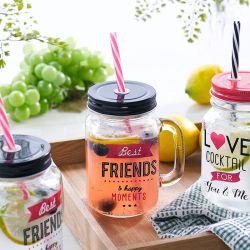 Mason Jar-Friends  Cocktail Jar  (Straw 포함)
