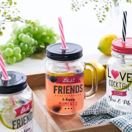 Mason Jar-Friends  Cocktail Jar  (Straw 포함)