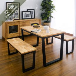 Ziva-2-Natural-Bench  Dining Set
