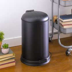 A-10106P-12L-BLACK  Round Retro Trash Can