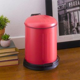 A-10106P-5L-RED  Round Retro Trash Can