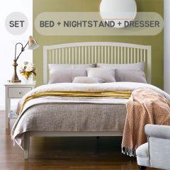 Ashby-Cotton-Set Queen Bed w/ Slats  (침대+협탁+화장대+거울+스툴)