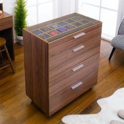 SG-5100-Walnut Display Cabinet w/ 4-Dr