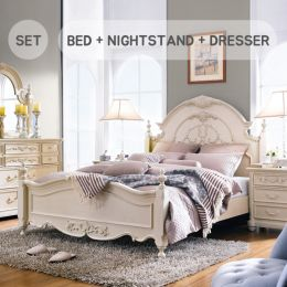 Angela-Ivory   Queen Panel Bed  (침대+협탁+화장대+거울)