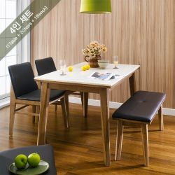 Zodax-4-Walnut-Marble  Dining Set   (1 Table + 2 Chairs + 1 Bench)