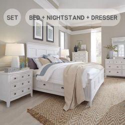 B4400  Queen Panel Bed w/ Storage  (침대+협탁+화장대+거울)