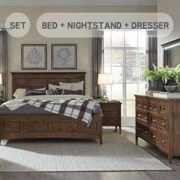 B4398  Queen Panel Bed w/ Storage  (침대+협탁+화장대+거울)
