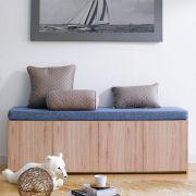 Mof-Natural-BLU  Storage Bench w/  Cushion