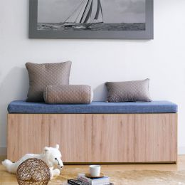Mof-Natural-BLU  Storage Bench w/  Cushion