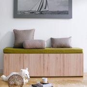 Mof-Natural-GRN  Storage Bench w/  Cushion