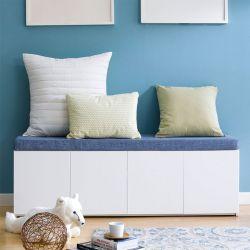 Mof-White-BLU  Storage Bench