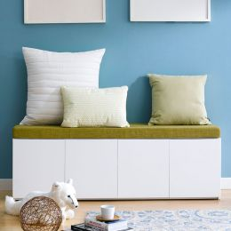 Mof-White-GRN  Storage Bench w/  Cushion