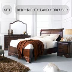 Sheridan-Q-Set  Queen Sleigh Bed  (침대+협탁+화장대)