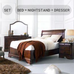 Sheridan-Q-Set  Queen Sleigh Bed  (침대+협탁+화장대)