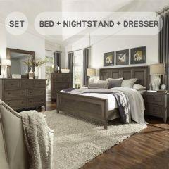 B3744  Queen Panel Bed  (침대+협탁+화장대+거울)