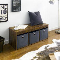 G3-Acacia-Grey  Storage Bench w/ Boxes