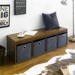 G4-Acacia-Grey  Storage Bench w/ Boxes