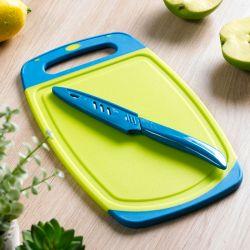 13278-Green/Blue  Board & Knife Set