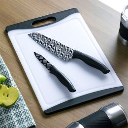13287-White/Black  Board & Knife Set