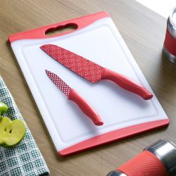 13289-White/Red  Board & Knife Set
