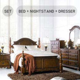 Tori-Q Bed Set  Queen Panel Bed  (침대+협탁+화장대+거울)