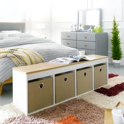(0) G4-Oak-Beige  Storage Bench w/ Boxes