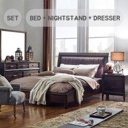 Windsong-Q-Set   Queen Sleigh Bed  (침대+협탁+화장대+거울)