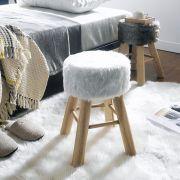 Fur-3753-White  Wooden Stool