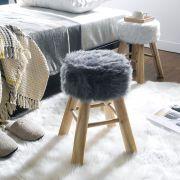 Fur-3753-Grey  Wooden Stool