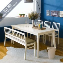Miso-6-Ivory  Dining Set (6인용) (1 Table + 3 Chairs + 1 Bench)
