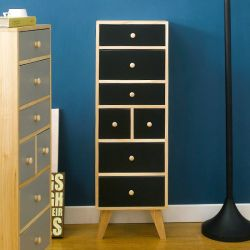 Judy-Black  7-Dr Storage Cabinet