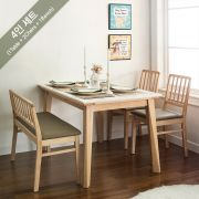 Miso-4-Natural-Marble  Dining Set  (1 Table + 2 Chairs + 1 Bench)