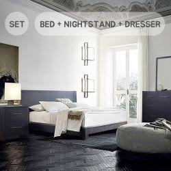 Zorra-Q-Set Queen Panel Bed  (침대+협탁+화장대+거울)