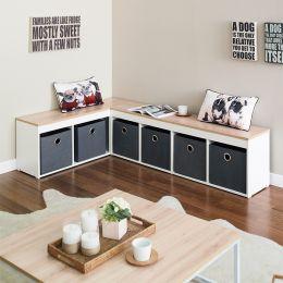SCB-24-Oak-Grey  Storage Bench w/ Boxes