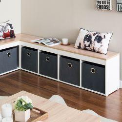 G4-Oak-Grey  Storage Bench w/ Boxes