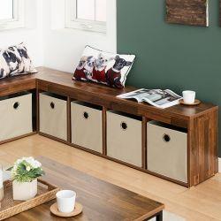 G4-Acacia-Beige Storage Bench w/ Boxes