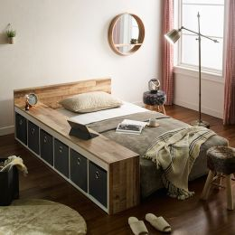 Ria-Grey-Q  Queen Panel Bed w/ Boxes
