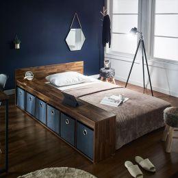 Aca-Grey-Q  Queen Panel Bed w/ Boxes