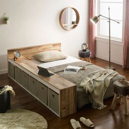 Ria-Beige-Q  Queen Panel Bed w/ Boxes