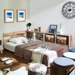 Irvine-Vintage-Q  Queen Panel Bed w/ Boxes